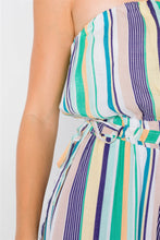 Load image into Gallery viewer, Green Multi Stripe Strapless Lightweight Wide Leg Jumpsuit