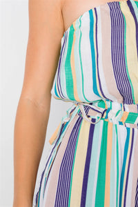 Green Multi Stripe Strapless Lightweight Wide Leg Jumpsuit