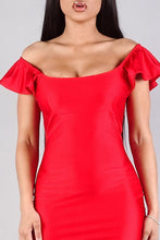 Load image into Gallery viewer, Convertible Off Shoulder Ruffle Sleeve Bodycon Mini Dress