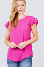 Load image into Gallery viewer, Short Cap Ruffle Sleeve Round Neck Woven Top