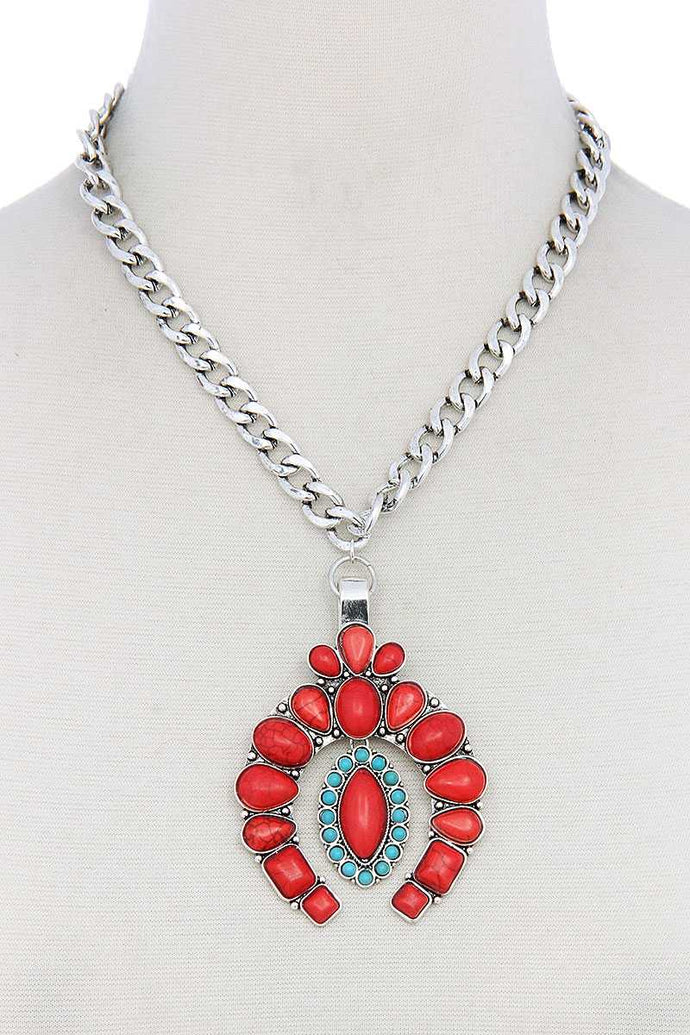 Multi Stone Pendant Necklace