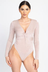 Front Twist Ribbed Bodysuit