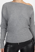 Load image into Gallery viewer, One Shoulder Ribbed Sweater