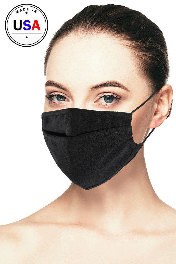 Black Linen 3d Reusable Face Mask