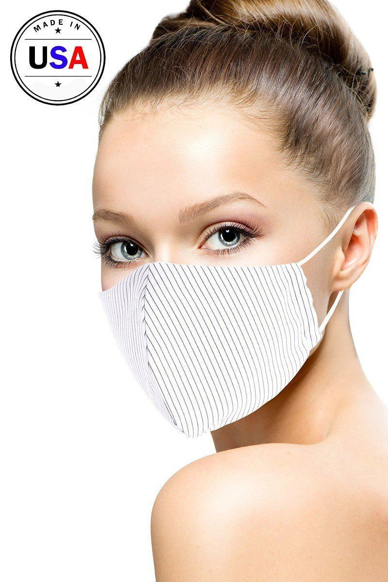 White Cotton Stripe 3d Reusable Face Mask