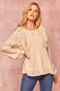 Semi-sheer Striped Woven Top