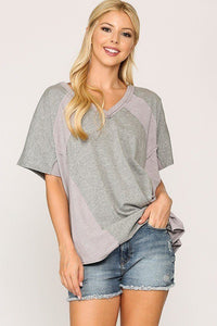 Rib Knit Mixed Dolman Sleeve Top With Round Hem