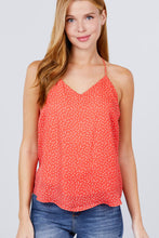 Load image into Gallery viewer, V-neck W/back Strap Dot Print Woven Cami Top