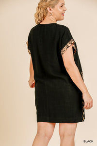 Bobby Animal Print Short Folded Sleeve V-neck Dress