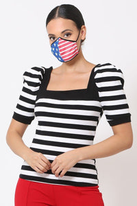 Red, White & Blue 3d Fashion Reusable Face Mask