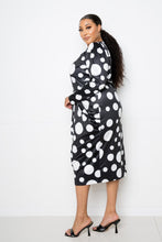 Load image into Gallery viewer, Polka Dot Drop Waist Ruched Midi Dress