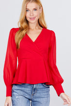 Load image into Gallery viewer, Puff Sleeve V-neck Peplum Top