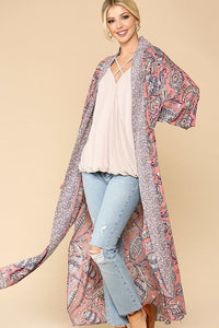 Mix-printed Open Front Kimono With Side Slits