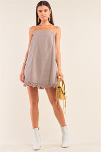 Mocha Lace Trim Swing Adjustable Cami Mini Dress
