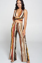 Load image into Gallery viewer, Stripped Cropped Top And Wide Leg Pants Set