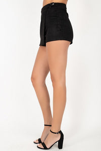 Side Tab Snap Suede Skort