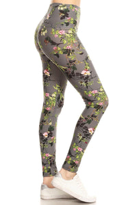 Floral Printed Knit Yoga Legging With High Waist
