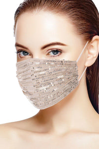 Champagne Dreams 3d Sequin Fashion Facemask