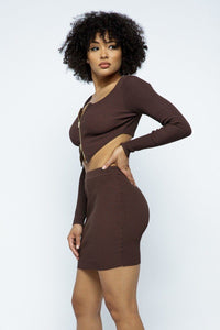 Chelsea 2 Way Zipper Mini Skirt Set in Brown