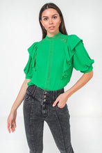 Load image into Gallery viewer, Ruffle Over Shoulder Woven Top