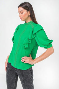 Ruffle Over Shoulder Woven Top