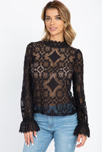 Load image into Gallery viewer, Sheer Floral & Geo Crochet Lace Top