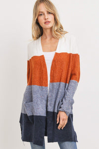 Striped Print Open Front Cardigan