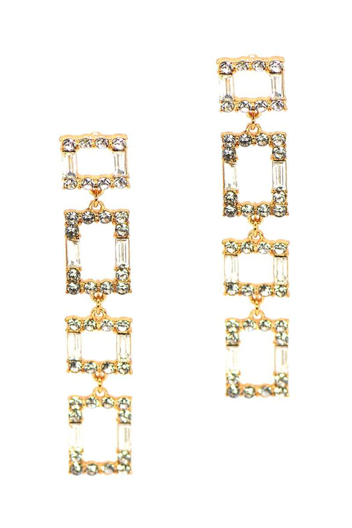 Square Rhinestone Drop Earring