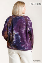 Load image into Gallery viewer, French Terry Tie-dye Raglan Long Sleeve Top With Raw Hem
