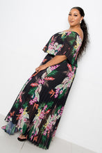 Load image into Gallery viewer, Tropical Printed Off Shoulder Pleated Maxi Dress