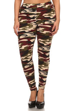 Load image into Gallery viewer, Plus Size Army Print, Banded, Full Length Leggings In A Fitted Style With A High Waist