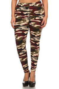 Plus Size Army Print, Banded, Full Length Leggings In A Fitted Style With A High Waist