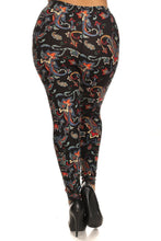 Carica l'immagine nel visualizzatore di Gallery, Floral/abstract Print, Full Length Leggings In A Slim Fitting Style With A Banded High Waist