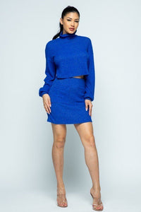 Brushed Knit Mock Neck Drop Shoulder Top With Front Pocket Mini Skirt Set