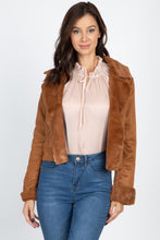 Load image into Gallery viewer, Suede Faux Fur Moto Jacket