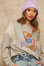 Carica l'immagine nel visualizzatore di Gallery, Know Your Power French Terry Knit Graphic Sweatshirt