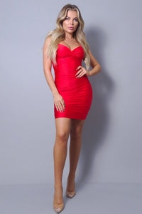 Sleeveless Crossover Front Ruched Bodycon Mini Dress