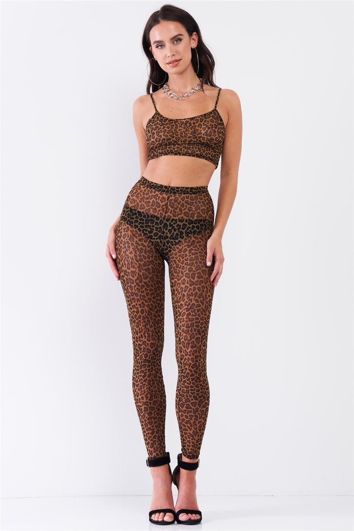 Sexy Sheer Mesh Sleeveless Crop Top & High Waist Legging Set