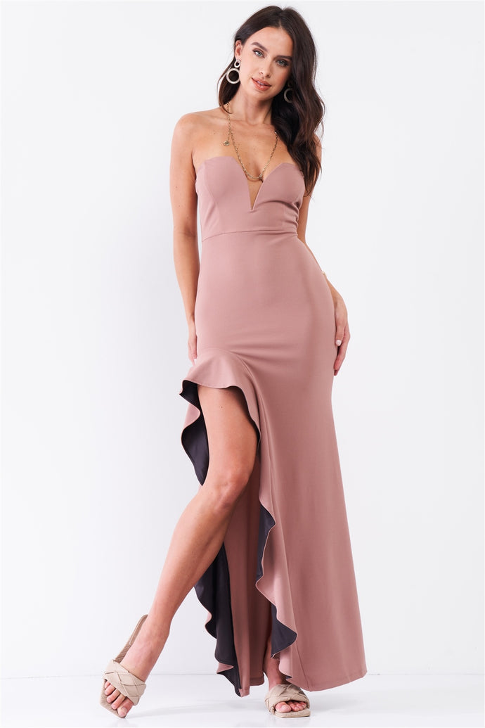Sleeveless Plunging Sweetheart Neckline Ruffle Trim Front Slit Detail Fitted Maxi Dress