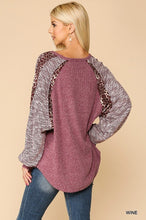 Load image into Gallery viewer, Textured Knit And Animal Print Mixed Dolman Sleeve Top