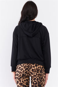 Black Oversize High Neck Zip-up Detail Draw String Tie Hoodie Sweatshirt