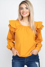 Load image into Gallery viewer, Balloon Sleeve Lace Ruffle Top