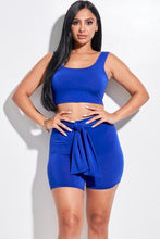 Load image into Gallery viewer, Solid Double Layered Tank Top And Tie Front Shorts 2 Piece Set