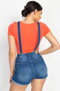 Cross Back Denim Suspender Shorts (woven)