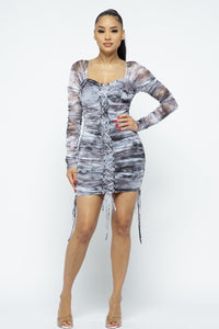 Tie Dyed Mesh Mini Dress W/ Lace Up Details