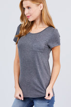 Load image into Gallery viewer, Short Sleeve Scoop Neck Top With Pocket