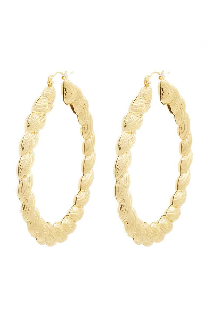 Chunky Metal Twist Shape Hoop Earring