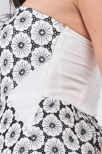 White & Black Floral Crochet Sleeveless Strapless Smock Back Detail Mini Dress