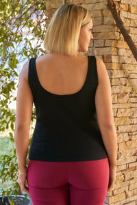Plus Sleeveless Round Neck With Split Detail Ribbed Top