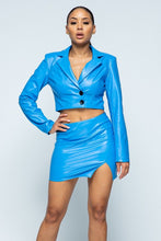 Load image into Gallery viewer, Tight Stretch Pu Fabric Jaket With Black Button Detail / High-waist Side Slit Detail Skirt